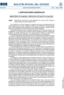 Registro estatal de enfermedades raras BOE -A-2015-14083BOE Ministerio de sanidad, servicios sociales e igualdad