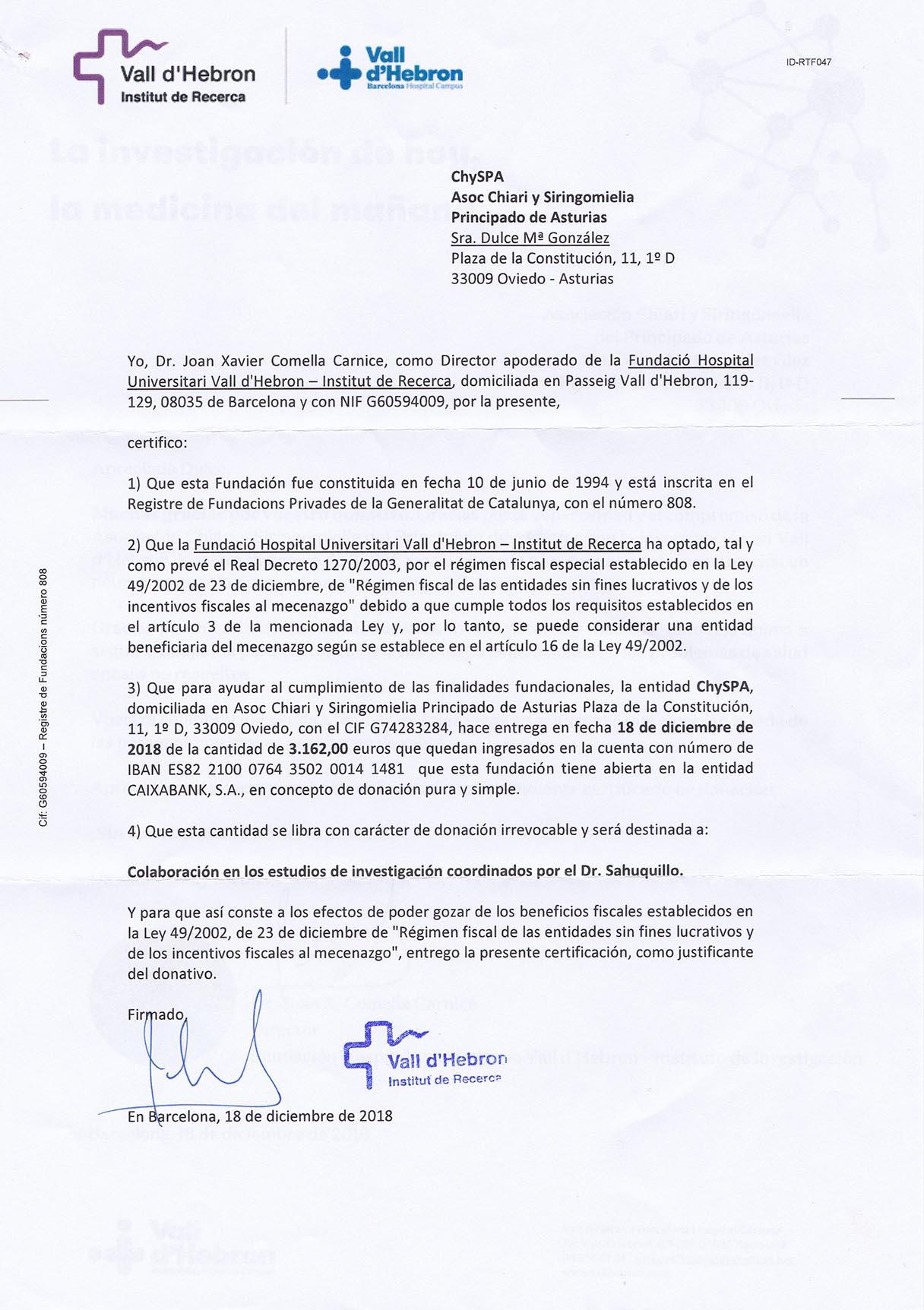donacion Vall dHebron