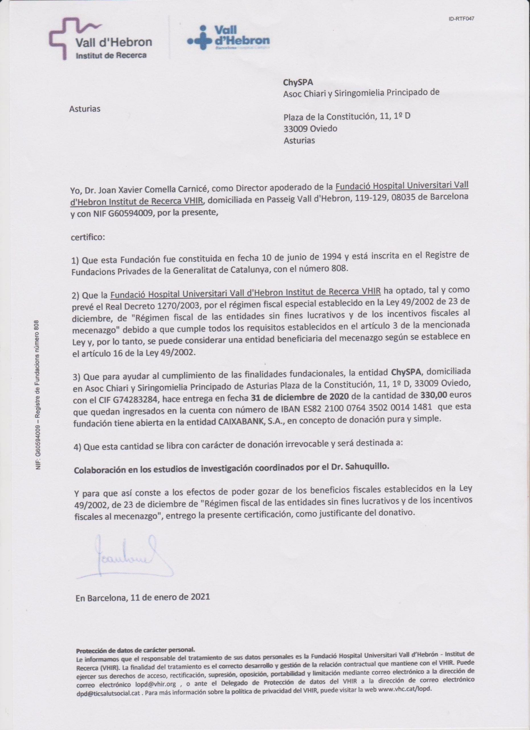 Donación para la investigación de la Fundació Hospital Universitari Vall d´Hebron