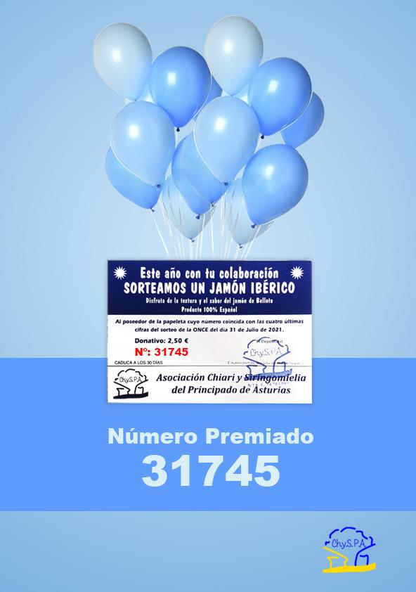 Número premiado del Sorteo de un Jamón Ibérico coincidente con el cupón diario de la ONCE del sábado 31 de julio de 2021