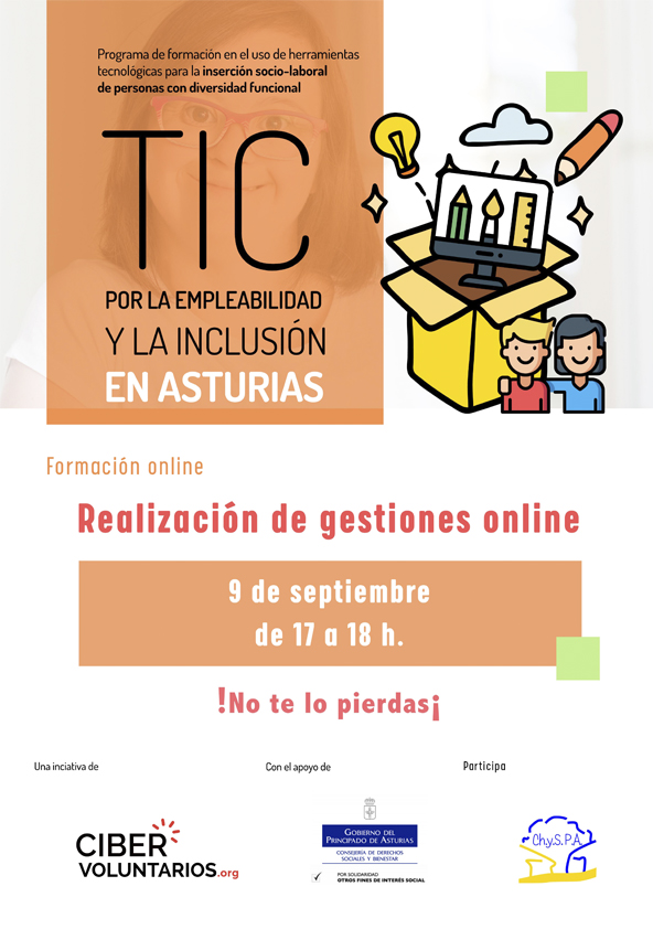 Formación online Realización de gestiones online el 9 de septiembre de 17 a 18h